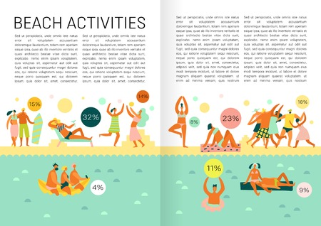 Book page flat infographics with text field and people doing various beach activities during vacation vector illustration