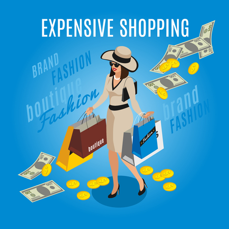 Rich lady with expensive shopping  isometric composition on blue background with coins and banknotes vector illustration Illustration