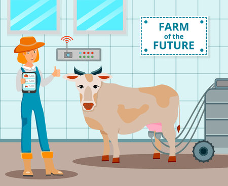 Dairy farm of future design concept with cow and operator of automatic milking machine flat vector illustration