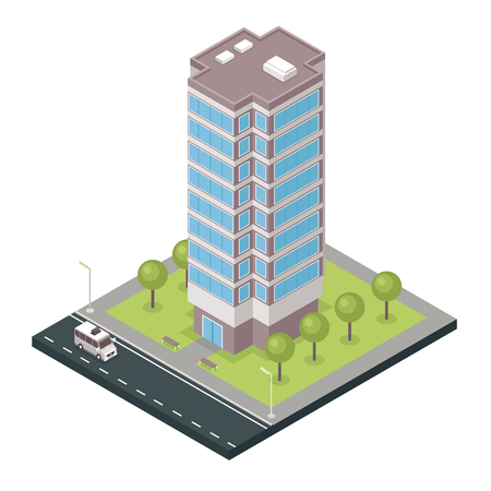 Tall modern free standing city tower building isometric composition with adjacent street and grass lawn. Ilustração