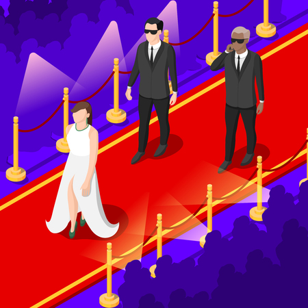 Young talents isometric background with performers on red carpet in festive apparel, spotlights, spectators vector illustration