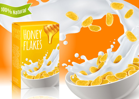 Céréales de petit déjeuner avec composition réaliste de miel et de lait avec publicité produit sur illustration vectorielle fond orange