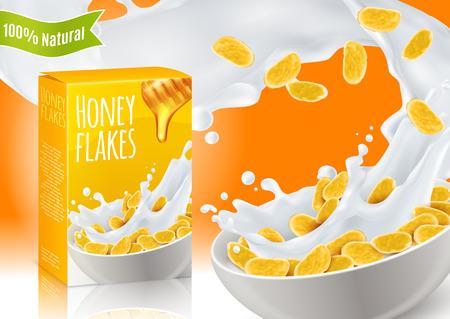 Ontbijtgranen met honing en melk realistische samenstelling met productreclame op oranje vectorillustratie als achtergrond Stockfoto - 100704982