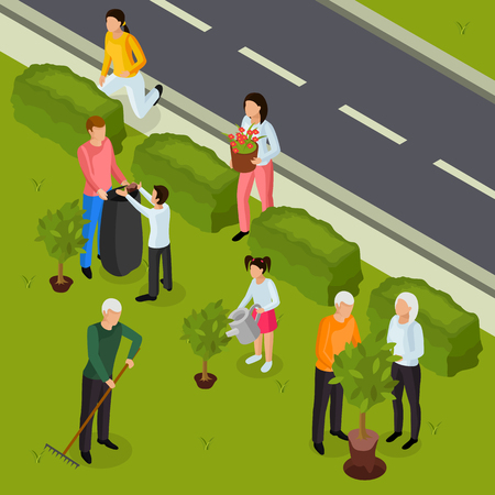Spring territory cleaning outdoor work isometric composition with grass lawn raking trees planting shrubs pruning vector illustration