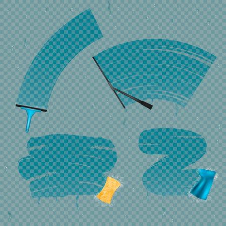 Veeg glasvlekken af realistische verzameling vensterreinigingsapparatuur en vlekken op glas met transparante achtergrond. Vector Illustratie