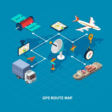 GPS route map flowchart with navigation symbols on blue background isometric vector illustration