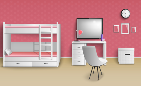 Teen girl room interior realistic image with furniture lamp clock bunk bed desk whiteboard chair vector illustration  Иллюстрация
