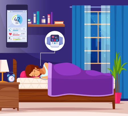 Correct sleeping cartoon composition with female human character and cartoon home scenery with smartphone application interface vector illustration