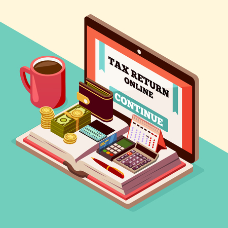 Accounting and taxes isometric background with calendar, calculator pocketbook and laptop used for online payments vector illustration Stock Illustratie