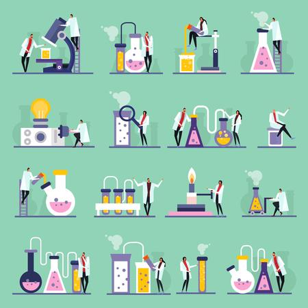 Iconos planos de laboratorio de ciencias, personajes humanos, tubos de ensayo y viales con sustancias, fondo verde, ilustración vectorial aislada