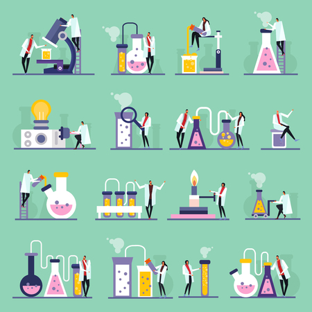 Science lab flat icons, human characters, test tubes and vials with substances, green background, isolated vector illustration