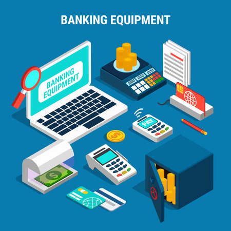 Banking equipment including currency detector, safe with gold, payment cards, isometric composition on blue background vector illustration