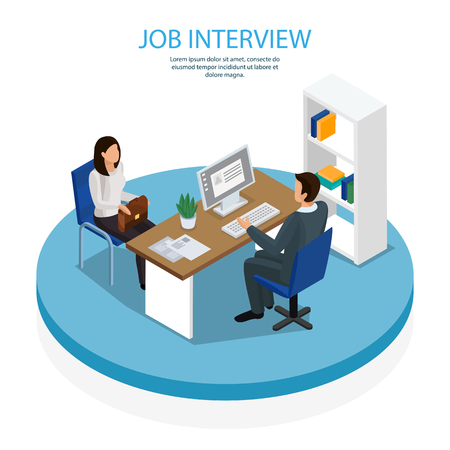 Employment and recruitment isometric composition background. Poster with hiring manager interviewing young lady job seeker. Illustration