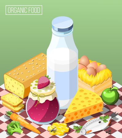 Organic food isometric composition on green background with dairy products, bread, eggs, jam and honey vector illustration Illustration