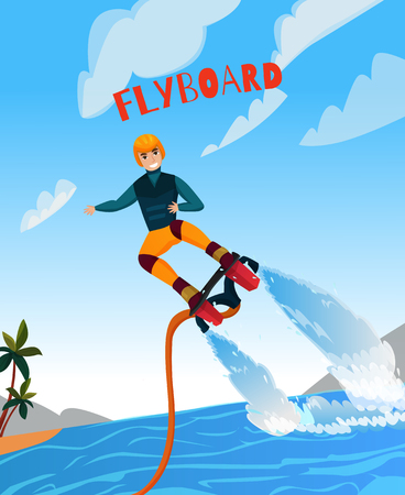 Modern extreme sports poster with flyboard symbols flat vector illustration