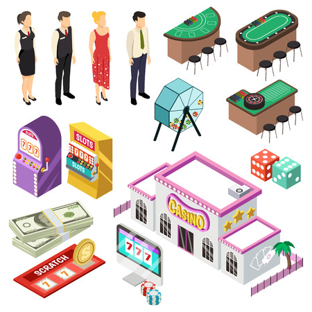 Casino isometric set with slot machine poker cards roulette jackpot lottery coins icons vector illustration