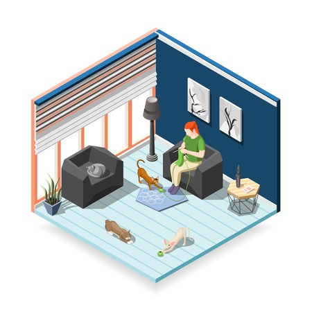 Woman during knitting with cats, home interior, isometric composition ordinary life of man and pets vector illustration
