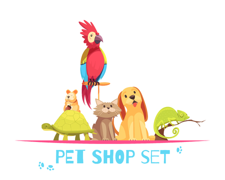 Pet shop composition with domestic animals parrot, hamster, chameleon, dog and cat on white background vector illustration Ilustração