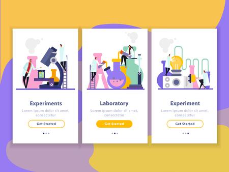 Banners verticales planos de laboratorio de ciencias con personajes humanos durante experimentos, investigaciones e innovación.