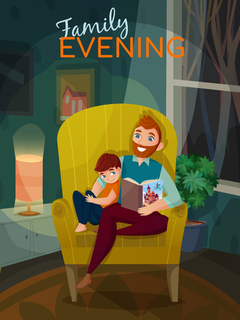 Fatherhood family evening scene with dad and son during book reading in home interior vector illustration Çizim