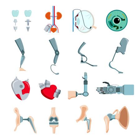 Orthopädische Prothese medizinische Implantate künstliche Körperteile flache Ikonensammlung mit mechanischer Herzklappe isolierte Vektorillustration