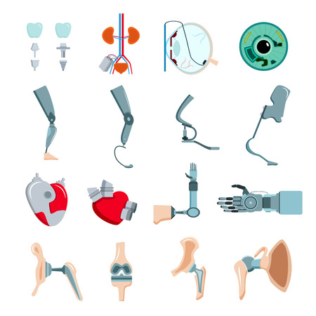 Orthopedic prothesis medical implants artificial body parts flat icons collection with mechanical heart valve isolated vector illustration  Vectores