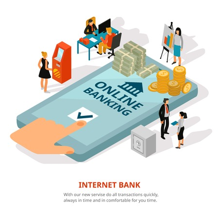 Online banking service isometric advertisement poster with cash on smartphone screen financial adviser safety symbols vector illustration