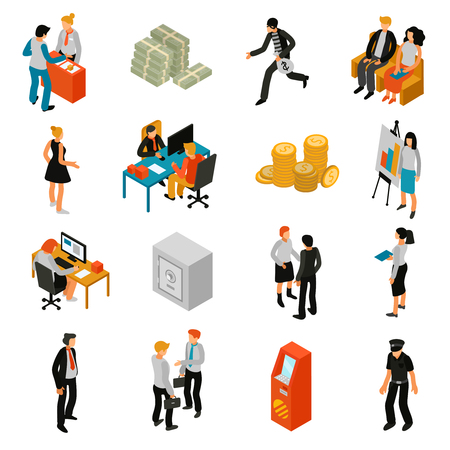 Bank people isometric icons set with teller financial adviser customer policeman coins banknotes lock safe isolated vector illustration