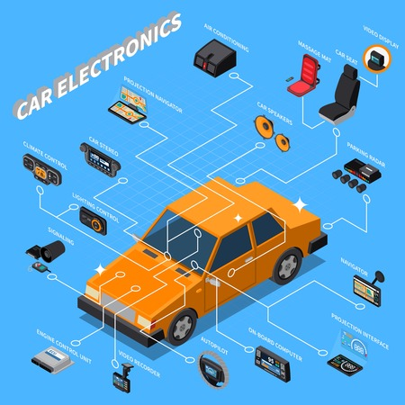 Car electronics isometric composition with massage seat symbols on blue background isometric vector illustration