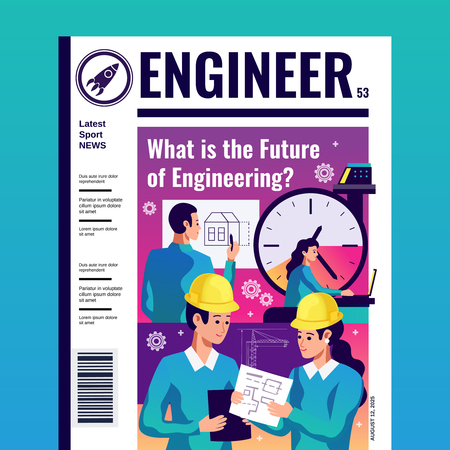 Engineer periodic magazine cover with article about what is future of engineering flat vector illustration