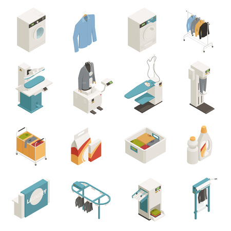 Isometric icons set with various laundry cleaning equipment isolated on white background 3d vector illustration