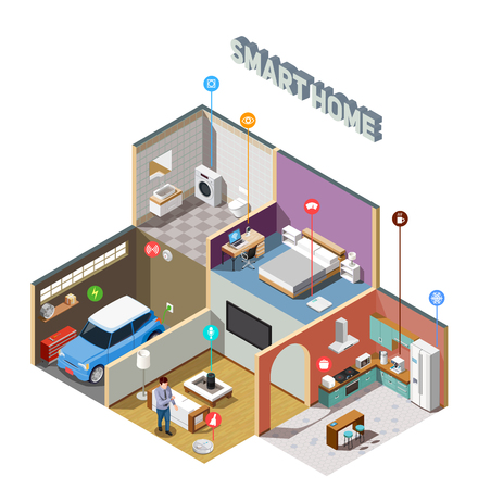 Smart home iot isometric composition with remote control of household appliances and car vector illustration