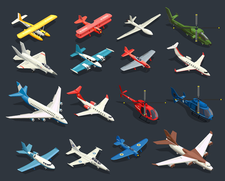 Set of isometric icons airplanes and helicopters of various shape on black background isolated vector illustration