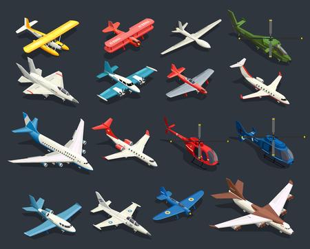 Reeks isometrische pictogrammenvliegtuigen en helikopters van verschillende vorm op zwarte achtergrond geïsoleerde vectorillustratie