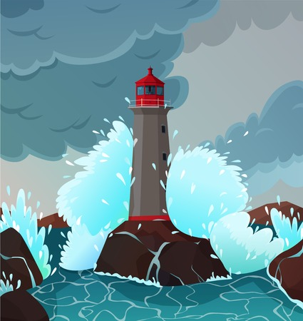 Stormy seaside landscape with waves and lighthouse symbols flat vector illustration