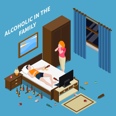 Family problems alcoholism isometric composition on blue background with crying woman, sleeping man with bottles vector illustration Illustration