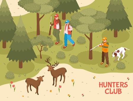 Hunters club season activities isometric poster with gun dogs assisting gunmen shooting deer in forest vector illustration     Illustration