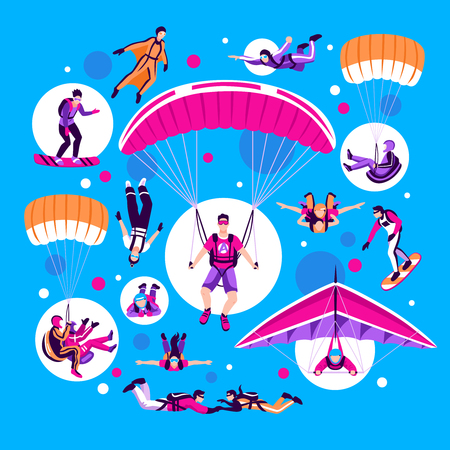 Skydiving and parachuting set on blue background flat isolated vector illustration