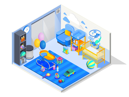 Newborn baby room isometric composition with nursery furniture crib bouncer changing table play mat toys vector illustration