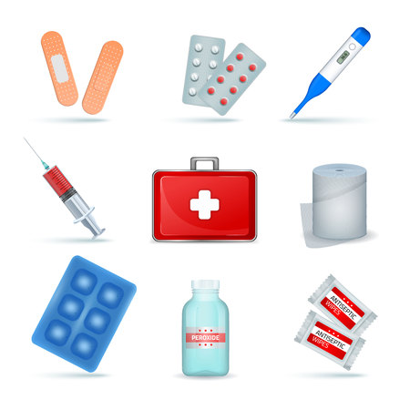 First aid kit supply emergency medical products realistic set with elastic bandage antiseptic wipes isolated vector illustraation