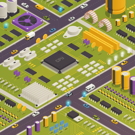 Semiconductor electronic components assembled on printed circuit board as city buildings streets traffic closeup isometric composition vector illustration