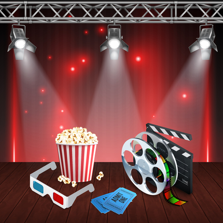 Realistic cinema background with spotlights clapboard 3d glasses tickets on wooden surface vector illustration