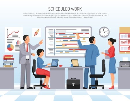 Colleagues schedule and planning work at office flat vector illustration Illustration