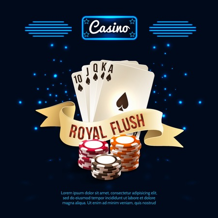 Stylish casino realistic composition with royal flush headline on the ribbon and card set vector illustration Illustration