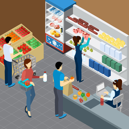 Grocery store isometric composition with visitors cashier and shelves with groceries products vector illustration Illustration