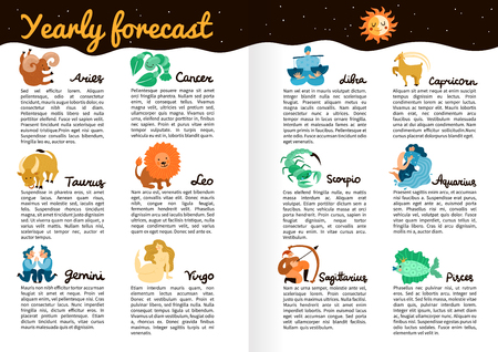 Yearly forecast by zodiac signs info-graphics on book pages with star sky, moon and sun. Illustration
