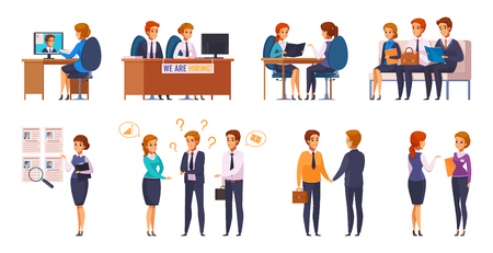 Recruitment hiring hunting HR cartoon characters set of human resources representatives and applicants with flat pictograms vector illustration