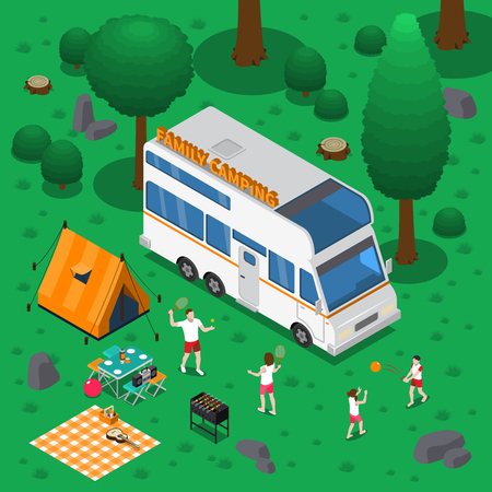 Camping isometric concept with outdoor activity and family symbols.