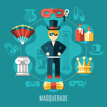 Theatre multicolored composition with isolated colored icon set on the mascaraed theme vector illustration