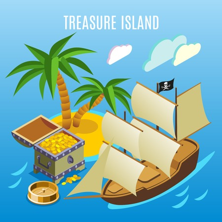 Treasure island with palm trees, pirate sail boat, chest of gold,  isometric game background vector illustration Illustration